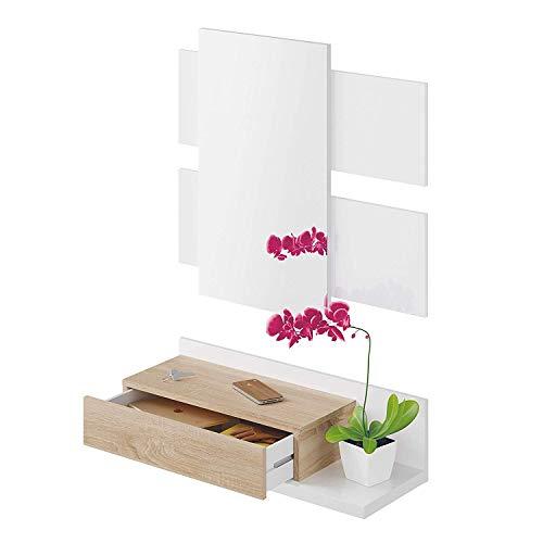 Mobile Valdemossa Mobiletto da Ingresso Mensola Sospesa con Specchio E Cassetto Arredo Arredamento Sala 75 x 29 x 20 cm Colore Bianco e Rovere