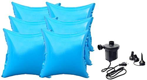 well2wellness® 6 x Pool Luftkissen Poolkissen Winterkissen mit neuem Ventil für Abdeckplanen Plus Elektropumpe