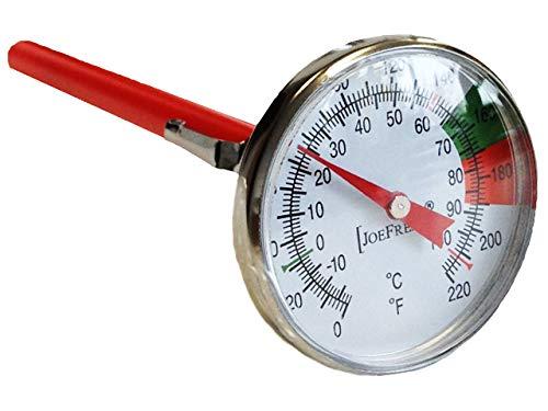 Thermometer mit Halterung aus Edelstahl für Milchkännchen - Eintauchthermometer - Spezialthermometer für Barista