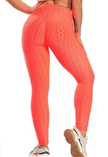 FITTOO Leggings Push Up Mujer Mallas Pantalones Deportivos Alta Cintura Elásticos Yoga Fitness  Rojo Claro(Rosa Fluor) L
