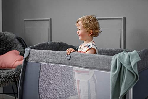 Hauck Play'n Relax Center Reisebett, 7-teiliges, ab Geburt bis 15 kg, faltbar und kippsicher, mit Neugeborenen Einhang, Wickelauflage, seitlicher Ausstieg, Netztasche, Räder, Transporttasche, grau - 27