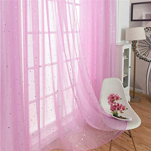 Blush Pink Sheer Voile Curtains for Girls Living Room Bedroom Privacy 39 x 79 inch 1 Panel,Star Tulle Gauze Window Treatment Drapery Faux Linen for Kids Nursery Play Room Bed Canopy Rod Pocket