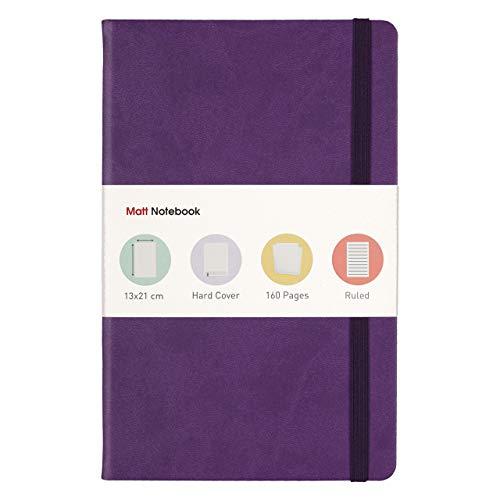 Matt Notebook classico Taccuino a Righe per scrittura,13 x 21 cm, A5, 160 pagine, copertina rigida in pelle sintetica di alta qualità con 12 colori diversi, Colore Viola