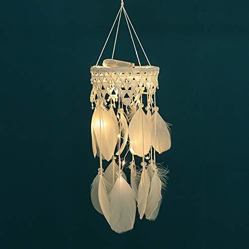 Langde LED Traumfänger Handgefertigt Gute Dreamcatcher Indischen Federn Traditionelles Träume Lichterkette für Zimmer Schlafzimmer Wand Ornament Deko Geschenk - Weiß