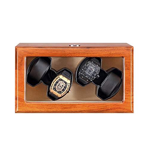 DFBGL Remontoir de montres automatique Boîte 4 Montres en Bois massif Remontoir Moteur silencieux Adaptateur secteur Batterie alimenté par USB 5 Modes de Rotation Remontoir de montre