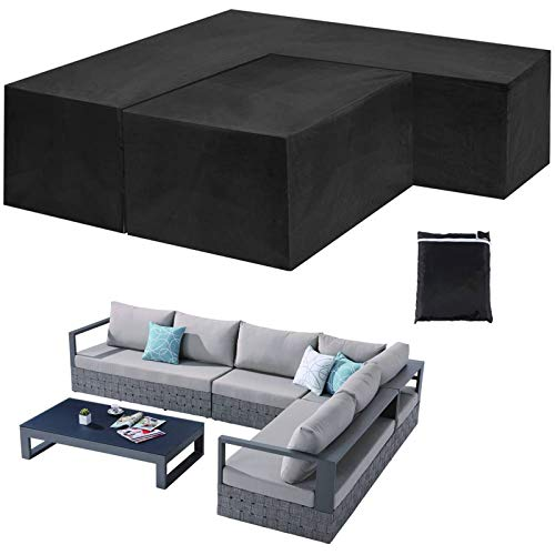 Garden Furniture Corner Sofa Set Cover with Desk Cover L Shaped Outdoor Sectional Couch Covers Protective Cover for Patio Sofa Waterproof Dustproof UV-proof, Black,Right 264x210x87cm+155x95x68cm