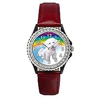 Bichon Frizeクリスタルラインストーンレッドレザー腕時計