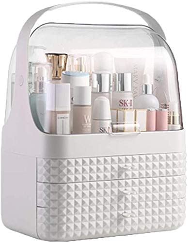 yxx Storage Box Makeup Organizer, 180-degree Rotating, with Handle and Drawer, Dust-Proof Multifunction Adjustable Storage, Fits Different Types of Cosmetics and Accessories (Color : White)