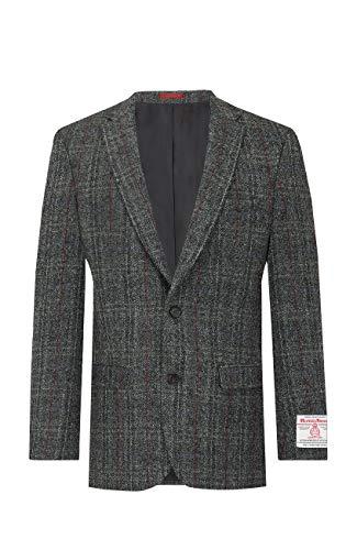 Harris Tweed Jackett, Grau, Dezentes Rotes Karo-29