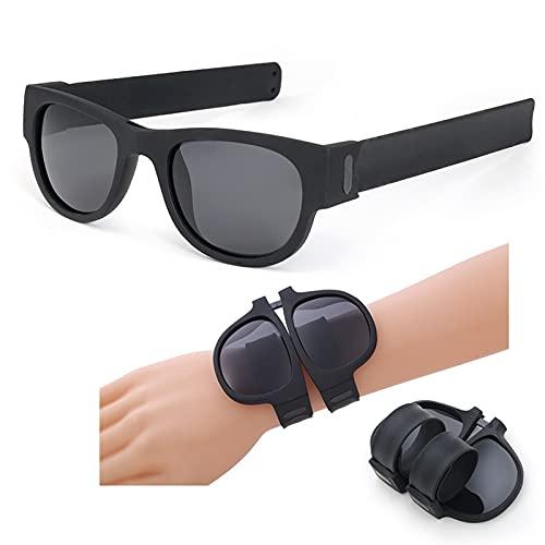 zhgzhzwlf Gafas De Sol Deportivas Plegables Gafas De Sol Polarizadas Prácticas Gafas De Conducción Gafas De Pulsera Gafas De Sol para Adultos Y Niños Adecuado para Cualquier Forma De Cara,Negro