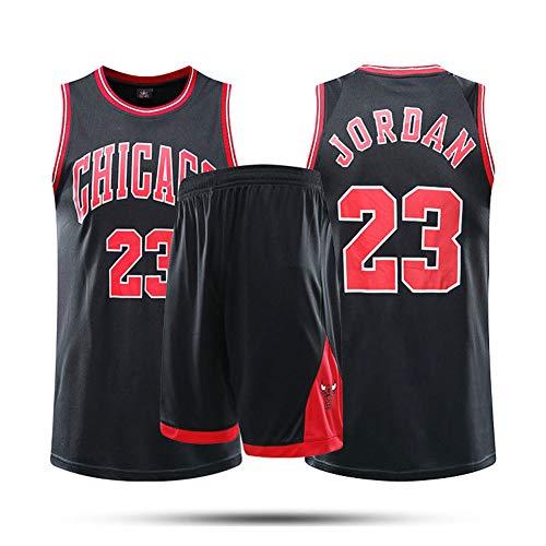 Fei Fei Chicago Bulls #23 Michael Jordan Camiseta de Baloncesto para Hombres Retro Chaleco de Gimnasia Top Y Pantalones Conjunto Sport Deportivo Jerseys,Negro,L