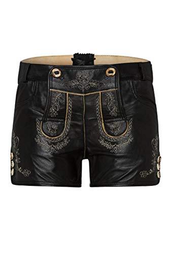 Edelheiss Moser Trachten Damen Lederhose kurz schwarz Janka 005468, Material, Größe 40