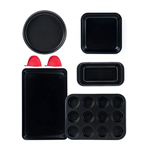 Nonstick Bakeware Set, 5 Pcs Carbon Steel Baking Set Include Cookie Sheet, Loaf Pan, Square Pan, Round Cake Pan, 12 Cups Muffin Pan, 2 Mini Oven Mitts