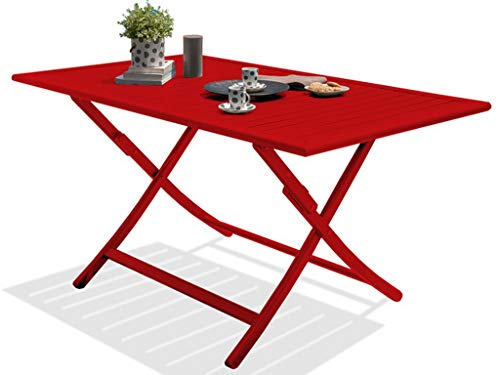 DCB GARDEN Marius Table de Jardin, Aluminium, Rouge, 140x80