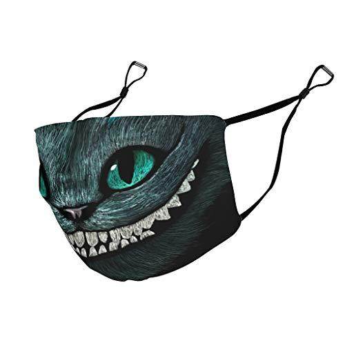 Eceitti Cheshire-Katze Neuheit Lässig einstellbar Mundschutz für Outdoor Aktivitäten Unisex Cartoon niedliche Katze White OneSize