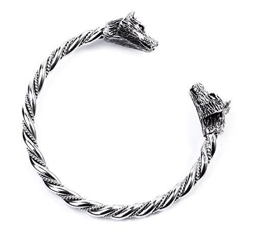 Windalf Handmade Männer Armreif Tyron Ø 6.5 cm Odins Wölfe Wikinger Wotan-Schmuck Handgeschmiedet 925 Sterlingsilber