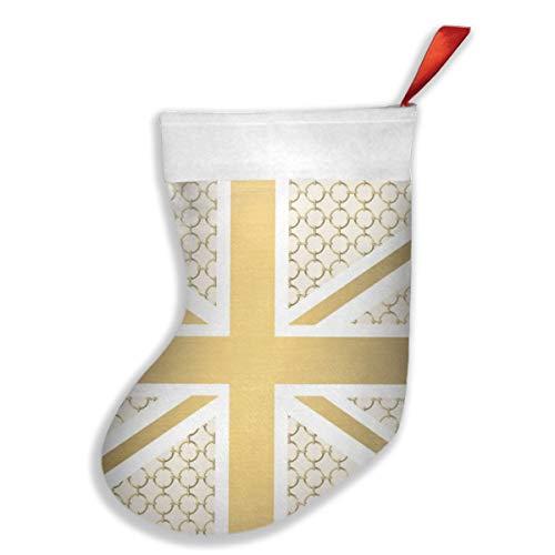 Dutars UK Union Jack-Flagge mit goldenem Reitstiefel, Weihnachtsstrümpfe, Weihnachtsdekoration, Socken für Familie, Urlaub, Weihnachtsbaum, hängende Spielzeuge, Süßigkeiten-Geschenktüte