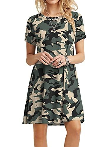 POPYOUNG Women's Casual Summer Dresses Tshirt Beach Dress XLarge, Camouflage