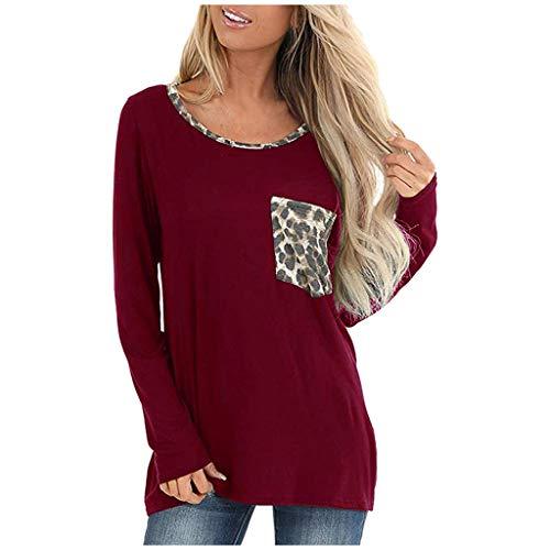 Frauen Tunika Tops und Bluse Leopard Brusttasche Einfarbig Lose Beiläufige T-Shirt Langarm Rundhals Pullover Tops Shirt