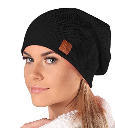 Mikos* Beanie für Damen   Frühling Mütze für Damen in Schwarz   Herbstmütze Damen   Long Slouch Beanie   Mütze mit hohem Tragecomfort  699