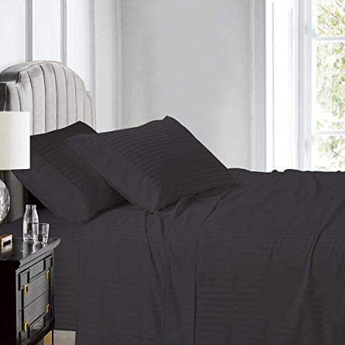 California King Size 4 Pieces Sheet Set - Hotel Luxury Bed Sheets - Extra Soft - 24' Inch Deep Pocket - 600 Thread Count - 100% Egyptian Cotton- Easy Fit - Breathable Cotton Sheets - Dark Grey Stripe