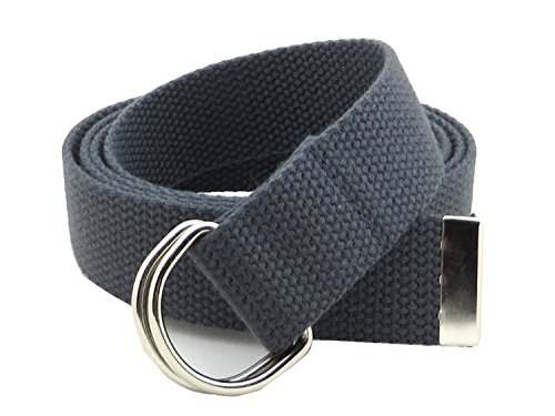 Thin Web Belt Double D-Ring Buckle 1.25' Wide with Metal Tip Solid Color (M-Dark Gray)
