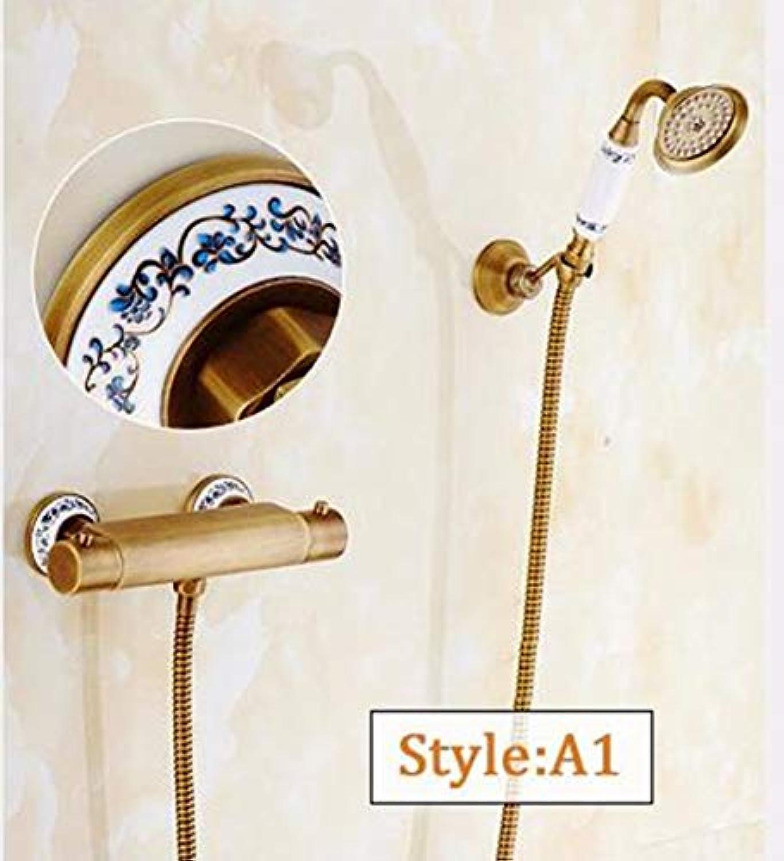MICHEN Duscharmaturen Wand Montiert Thermostatischer Wasserhahn Dusche Sets Antike Regen Badezimmer Wasserhahn Thermostatsteuerung,StyleA1