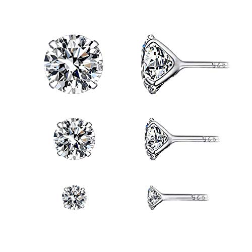 YOURDORA Women 925 Sterling Silver Stud Earrings Sets with Single Crystal 3 Pairs 3mm 5mm 7mm White