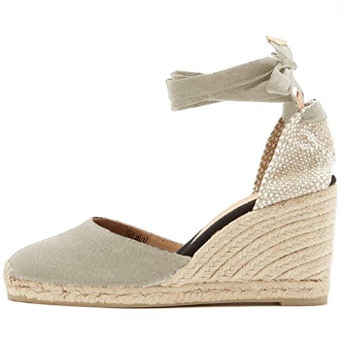 Minetom Sandali Donna Moda Espadrillas con Cinturino Casual Zeppa Piattaforma Eleganti Estivi Sandals Romani Testa Tonda Dolce Beige EU 39