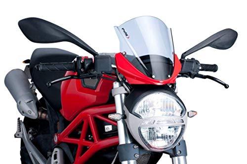Motorrad Windschild Windschutz Racingscheibe Puig Ducati Monster 696/796/1100/Evo 08-14 schwarz