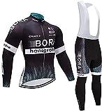 ZALA Completo Abbigliamento Ciclismo da Uomo, Invernale Tuta Maglia Ciclismo Maniche Lunga + Pantaloni Lunghi da Bicicletta con Gel Pad 5D