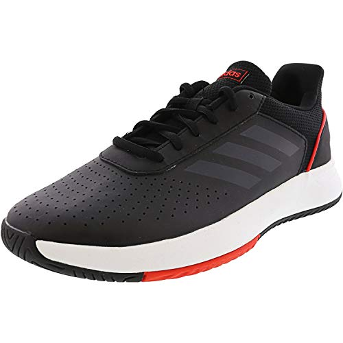 Adidas Mens Courtsmash Leather Low Top Lace Up Tennis, Black/White/Red, Size 9.5