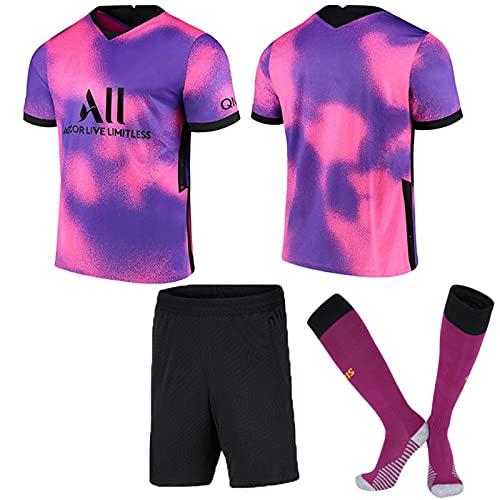 HRZHYHB Herren Fußball Jersey Sweatshirt Kinder und Erwachsene Fußball Uniform Anzug Kurzarm Trikot und Shorts Trainingsbekleidung T-Shirts Shorts Hohe Kniestrümpfe Rosa Lila