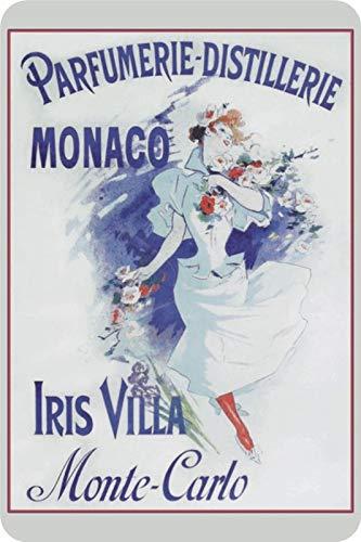 Blechschild Iris Villa Monaco Parfum Metallschild tin Sign Deko