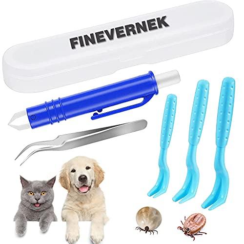 FINEVERNEK 5 Piezas Garrapatas Herramienta, Gancho para garrapatas, Pinzas para garrapatas, Pinzas para garrapatas para Perro/Gato