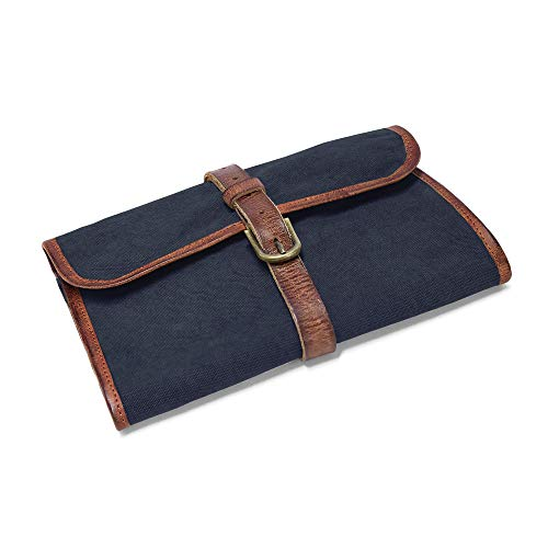 DRAKENSBERG Kimberley Wash Bag, wash roll, Wet Pack, Toiletry Bag, Trifold, Buffalo Leather, Canvas, Handmade, Navy-Blue, Brown