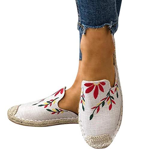 95sCloud Damen Pantoletten mit Stickerei Komfort Sommer Sandalen Tuch Weich Women Freizeit Strandsandalen Outdoor Flip Flops Hausschuhe Hefterzufuhren Slippers Espadrilles Schuhe (Weiß, 40)