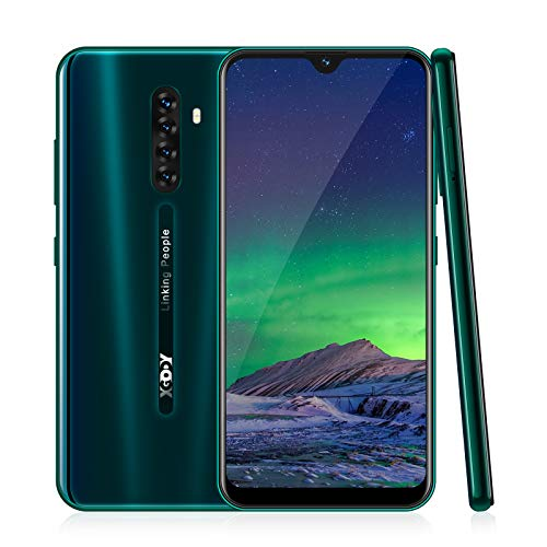 4G Smartphone Ohne Vertrag,XGODY Note8 6.26 Zoll qHD Android 9.0 Wassertropfen Bildschirm Handy,8MP+5MP Dual Kamera Dual SIM-frei Entriegelt Mobilephone,Facial Freigeschaltet,16GB ROM(Grün)