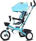 Z-LIANG Bicicletas for niños Triciclo de niños Chico y niña Bicicleta 3~10 años de Edad niños Bicicleta Baby Trolley Baby Carro Bicicleta (Color: Azul, Tamaño: 75x50x60cm)