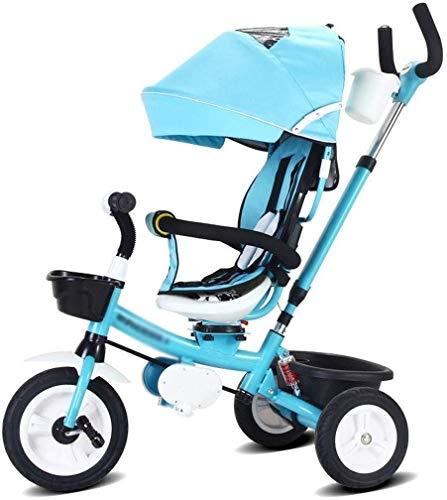 BANANAJOY Bicicletas for niños Triciclo de niños Chico y niña Bicicleta 3~10 años de Edad niños Bicicleta Baby Trolley Baby Carro Bicicleta (Color: Azul, Tamaño: 75x50x60cm)