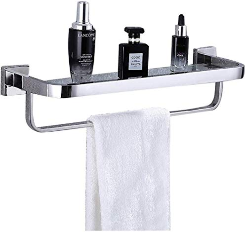 Vuile mand handring badkamer plank glazen plank multifunctioneel aan de wand bevestigd frame roestvrij stalen hanger wandbehang enkele plank, met handdoekverwarmer wasrek