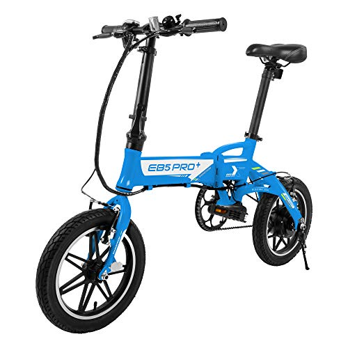 """Swagtron Swagcycle EB-5 PLUS Folding Electric Bike with Pedals and Removable Battery, Blue, 14"""" Wheels"""