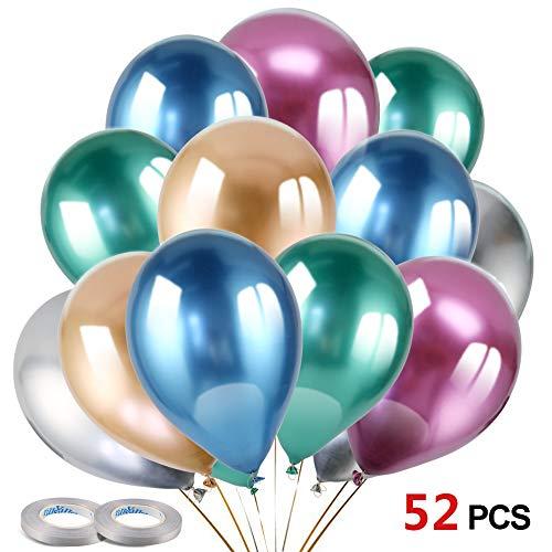 HOWAF 50pcs 12 Pulgadas Globos Metalizados, Metalicos Globos de látex Colores Globos de Helio para Fiestas, Boda, Baby Shower, cumpleaños Decoracion