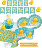 Bubble Bath Rubber Ducky Baby Shower Supplies - Rubber Ducky Baby Shower Plates and Napkins Cups for 16 People - Includes Bubble Bath Baby Shower Banner Tablecloth & Centerpiece - Perfect Bubble Bath Rubber Ducky Baby Shower Decorations!