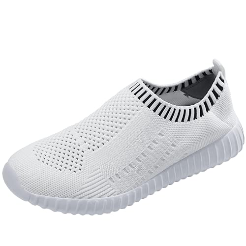 Vanyee Zapatillas deportivas para mujer sin cordones para caminar, transpirables, ligeras, tenis, color Blanco, talla 36 EU