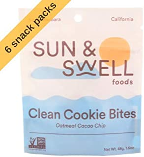 SUN & SWELL FOODS (6 Count), Date & Cashew Cookie Bites, Organic, Gluten Free, Oatmeal Cacao Chip, Vegan, No Refined Sugar, 1.6 oz