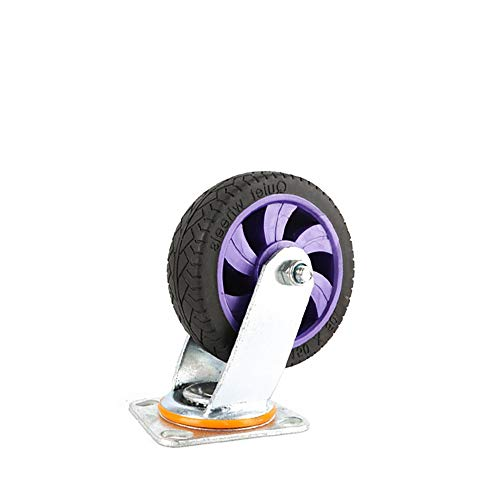 ZDAMN Universele wiel 5 inch rubber Caster Universal-Wear-Resistant voor trolleys/rekken gereedschapskisten/stoelen