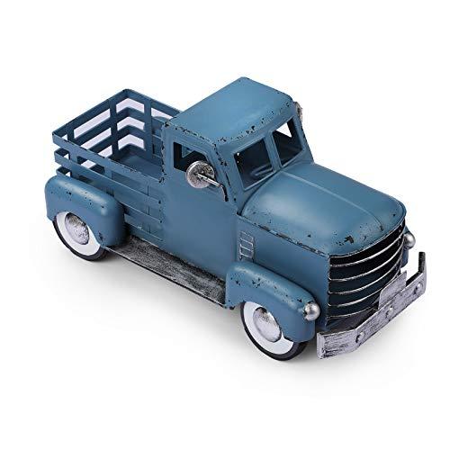 Vintage Blue Truck Décor  Farmhouse Blue Truck Spring Decoration  Decorative Tabletop Storage & Pick-up Metal Truck Planter