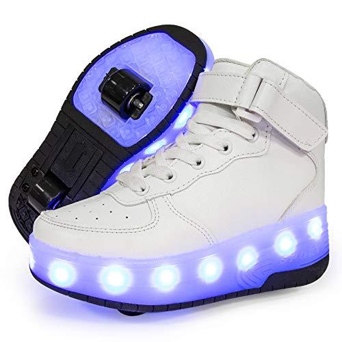 Charmstep Unisex Kinder LED Roller Schuhe mit USB Aufladen Doppelräder Leuchten Skateboardschuhe Sportarten Turnschuhe für Jungen Mädchen,Weiß,36 EU