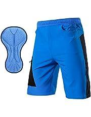 TOMSHOO Pantalones Cortos de MTB, Pantalones Cortos de Ciclismo para Hombre con Acolchados en 3D y 4 Bolsillos para Deporte al Aire Libre y Ciclismo